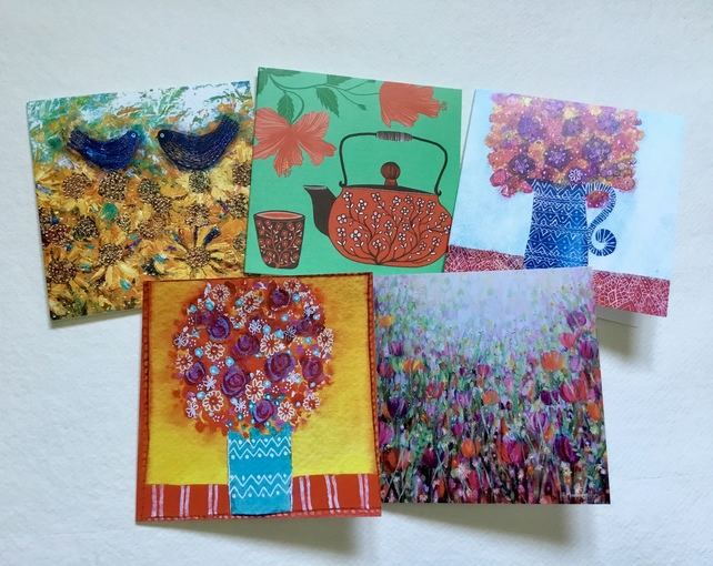Floral, blank greetings card pack