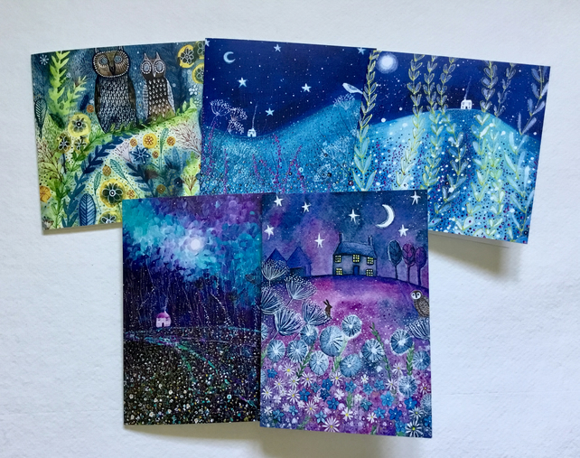 Starry Night Skies, blank greetings card pack