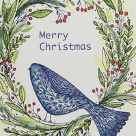 Peace Dove Wreath, Blank Christmas Card