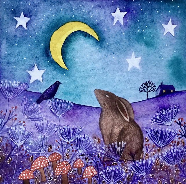 Moon Gazing Hare, original watercolour painting