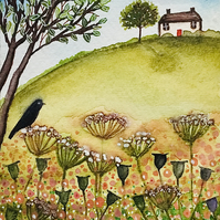 Field View Cottage, original watercolour painting