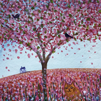 Under the Cherry Tree, original watercolour painting