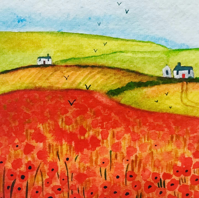 Poppy Fields, original watercolour painting