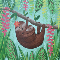 Mum and Baby Sloth Blank Greetings Card