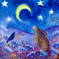 Moon Gazing Friends, blank greetings card