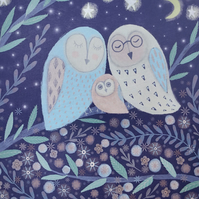 Owl Family, blank greetings card