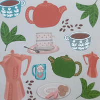 Tea and Coffee, blank greetings card