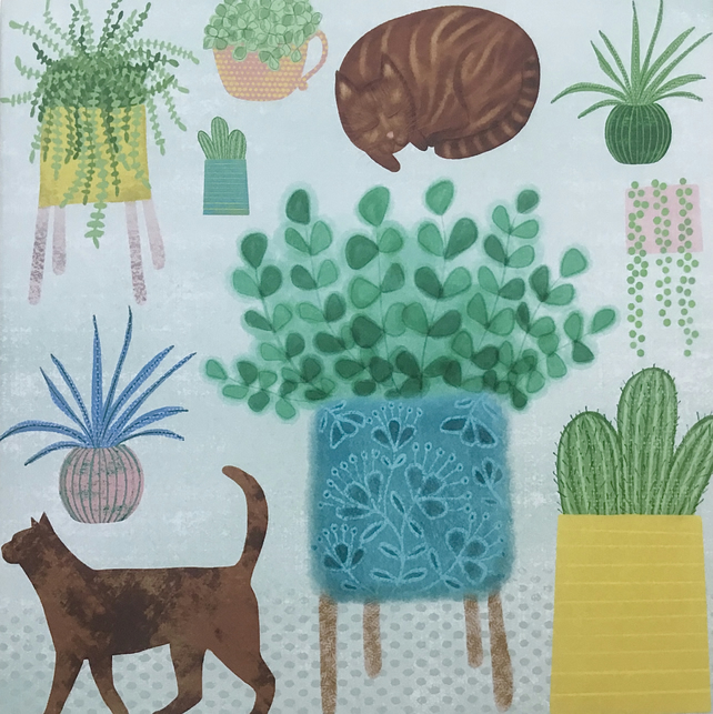 Cats and Cacti, blank greetings card