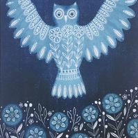 Folk Owl, blank greetings card