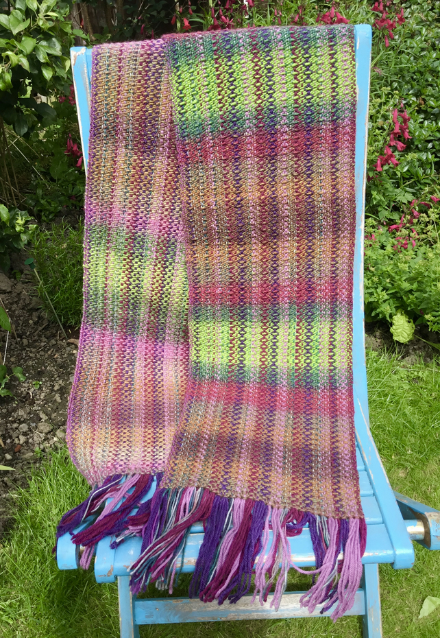 Scarf, Forest Shades, hand woven scarf