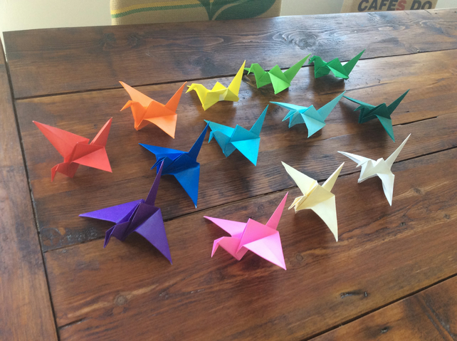 10 Paper Origami Cranes - Wedding Favours