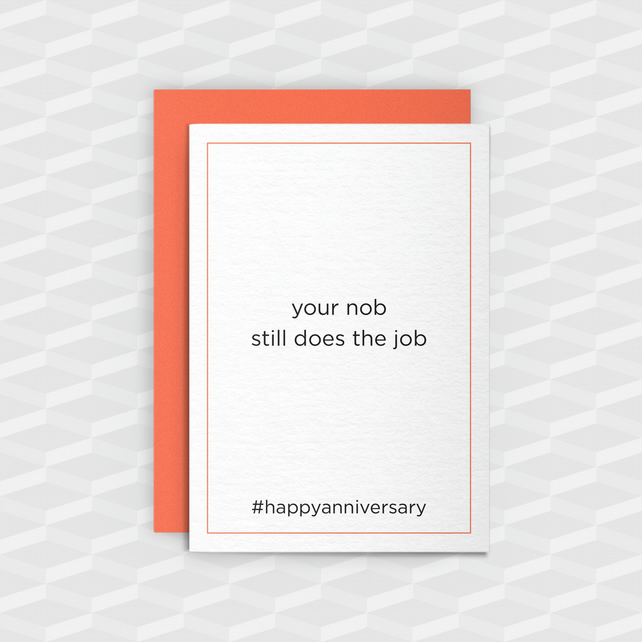 Rude Anniversary card - Still Does The Job - Funny Greeting Card - Offensive