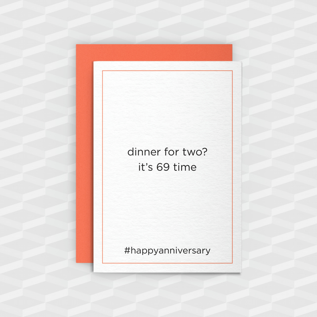 Rude Anniversary Card - Dinner for two? - Funny Anniversary Card - Offensive
