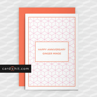 Rude Anniversary Card - Happy Anniversary Ginger M-nge - Offensive cards
