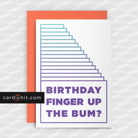 Rude Birthday Card - BIRTHDAY FINGER UP THE BUM?  - Funny Greeting Cards  - RUDE