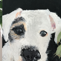 Spot the Dog , acrylic painting, Jack Russell, white, black