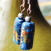 Ocean & Fire clay bead earring copper