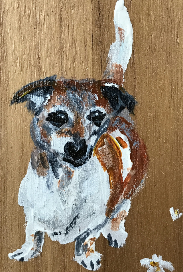 Old Boy, Miniature dog painting, wood