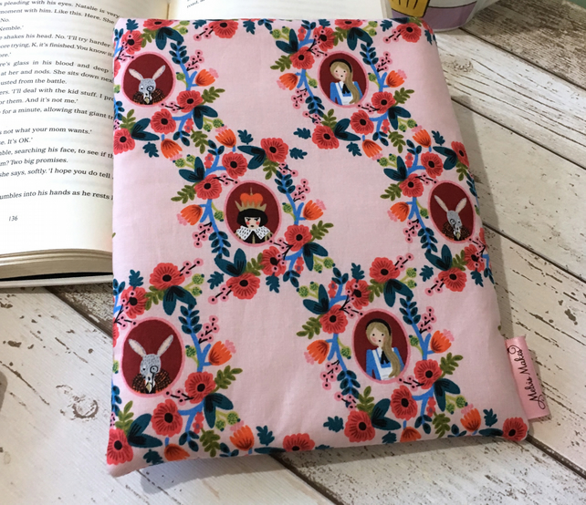 Pink Alice in Wonderland Medium Book Buddy - Padded Paperback Protector