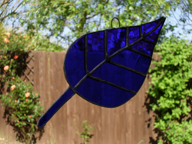 Blue Leaf Stain Glass Suncatcher