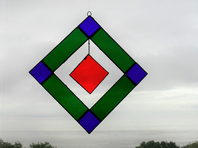 Red hanging square stain glass suncatcher