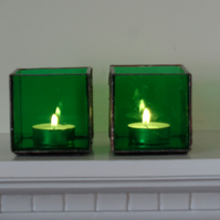 Green stained glass tea light holders