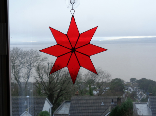 Large 8 pointed red star stain glass suncatcher