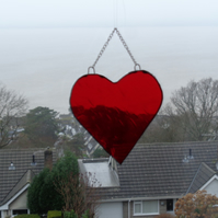 Bright red stain glass heart