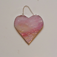 Wispy pink glass heart