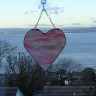 Large wispy pink glass heart