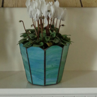 Mid green, blue and white Plant Pot Holder