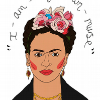 Frida Kahlo Digital Print, Feminist Gift, Wall Art, Home Decor, Illustration