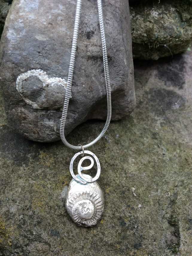 Ammonite Fossil Necklace, Oxidised Reflections Sterling Silver