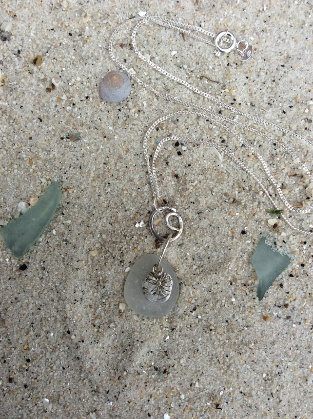 Mermaid's Tear Sea Glass Necklace with Sterling Silver Seed Charm