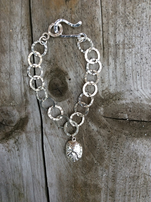Sterling Silver Hammered Charm Bracelet, Limpet Shell Charm