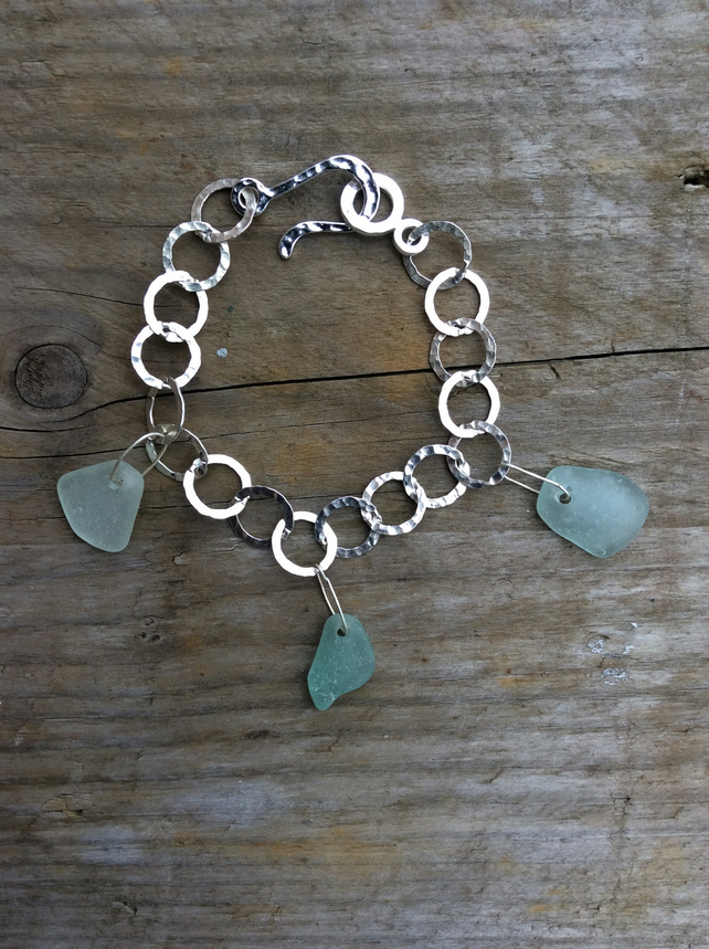 Mermaids Tears Sea Glass and Sterling Silver Charm Bracelet