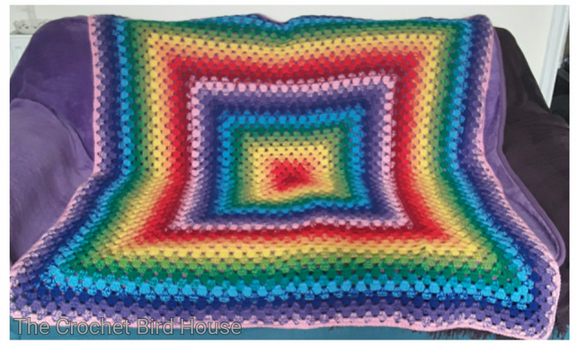 Retro Rainbow Granny Square Blanket