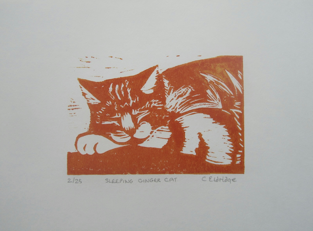 Sleeping Ginger cat limited edition linocut print