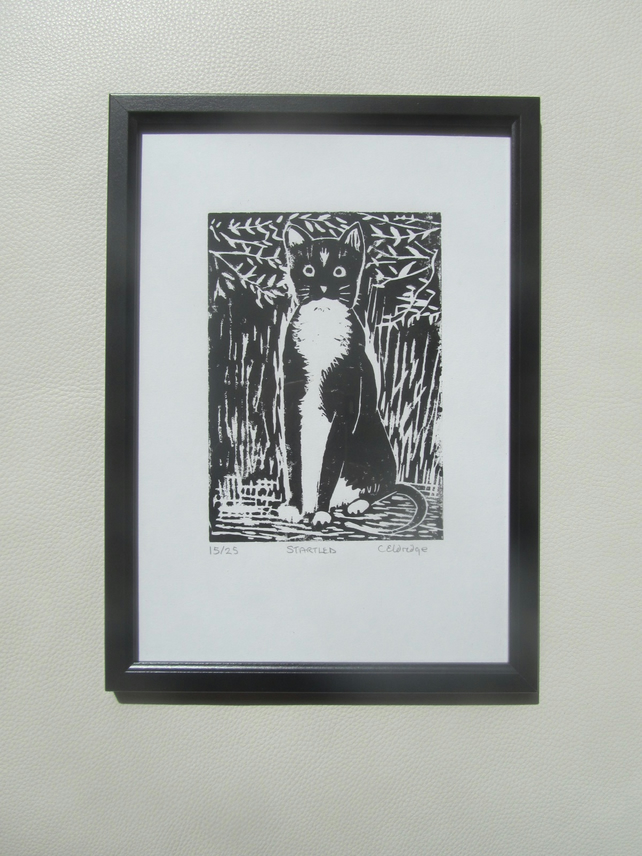 Startled! Black cat limited edition linocut print