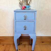 Cute side table with drawers and Queen Anne pewter dipped legs