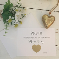 Personalised bridesmaid proposal scratch off card