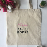 Personalised back to school bag of books tote bag