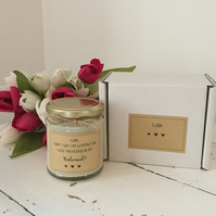 Personalised bridesmaid proposal candle gift