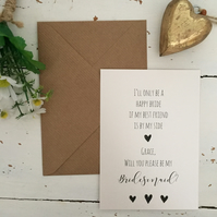 Personalised I'll be a happy bride proposal card