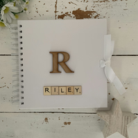 Personalised Initial scrabble baby scrapbook memory book