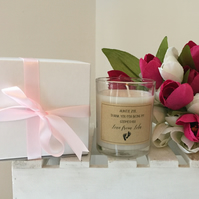 Personalised godparent thank you candle gift