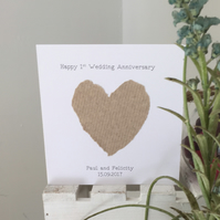 Personalised 1st wedding anniversary card