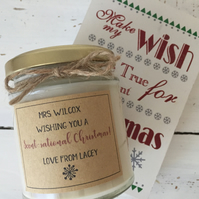 Personalised teacher scented candle Christmas gift
