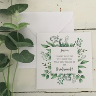 Personalised bridesmaid proposal flat card green foliage inspired