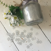 100 silver glitter snowflakes approximately 1.5 centimetres